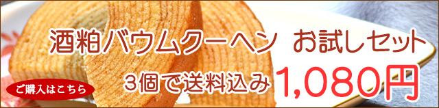 酒粕バームクーヘン お試しセット 送料込1080円